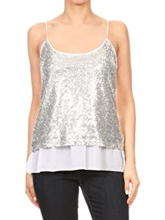 1d72a60eef0d94 Anna-Kaci Womens Sequin Strap Sheer Ruffle Hem Sparkly Party Crop Tank Top