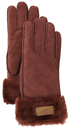 UGG Womens Turn Cuff Glove, Auburn Brown, Size Small
