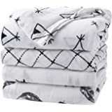 Baby Swaddle Blanket Upsimples Swaddle Wrap Soft Silky Muslin Cotton Swaddle and Bamboo Receiving Blanket for Baby Girls and Boys Large 47 x 47 inches 4 Pack-Arrow/Feather/Tent/Crisscross