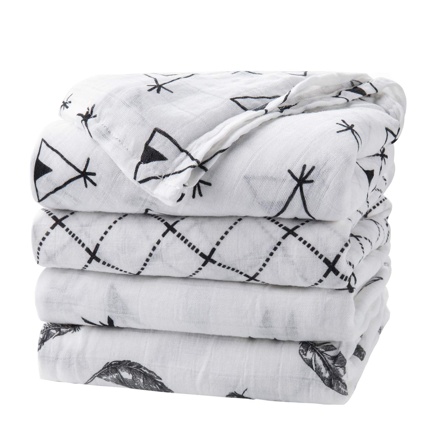Baby Swaddle Blanket Upsimples Unisex Swaddle Wrap Soft Silky Bamboo Muslin Swaddle Blankets Neutral Receiving Blanket for Boys and Girls, Large 47 x 47 inches, Set of 4-Arrow/Feather/Tent/Crisscross by upsimples