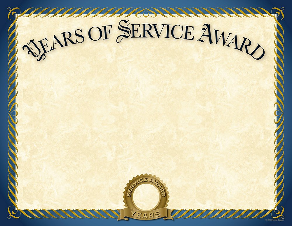 "Great Papers! Years of Service Foil Certificate, 20 Count, 8.5"" x 11"" (2015113)"