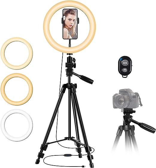 25 4 Cm Selfie Ringlicht Mit Stativ Ständer Und Kamera