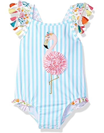 977b2d21fe743 Mud Pie Baby Girls Flamingo Tassel One Piece Swimsuit