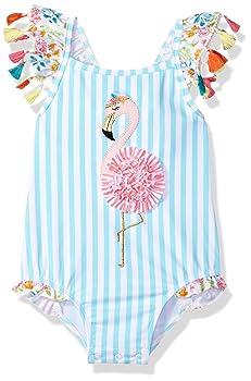 Mud Pie Girls Baby Flamingo Tassel Swimsuit