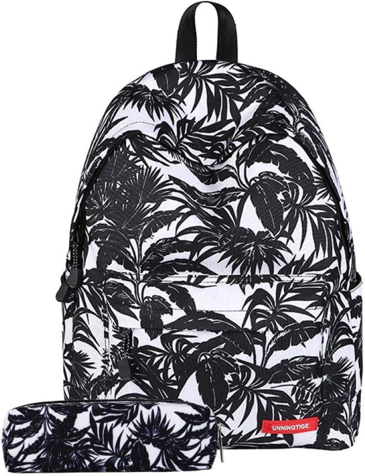 SQDP - Mochila de Viaje con Estampado de Hojas Leaf (Black) + Pencil Case Leaf (Black) + Pencil Case