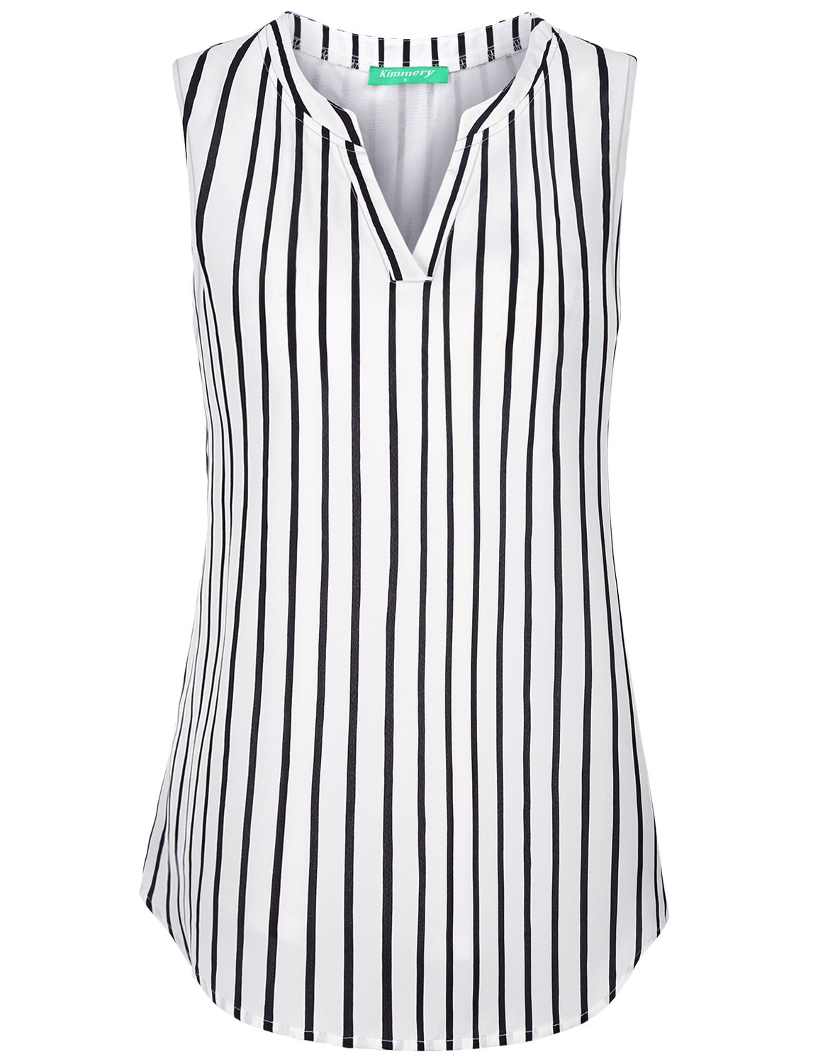 Kimmery Sleeveless Tunics for Women, Ladies Career Tank Tops Mandarin Collar Henley Shirts Sturdy Flowing Charming Lightweight Breathable Durable Formal Wear Layered Top Black Stripes X Large