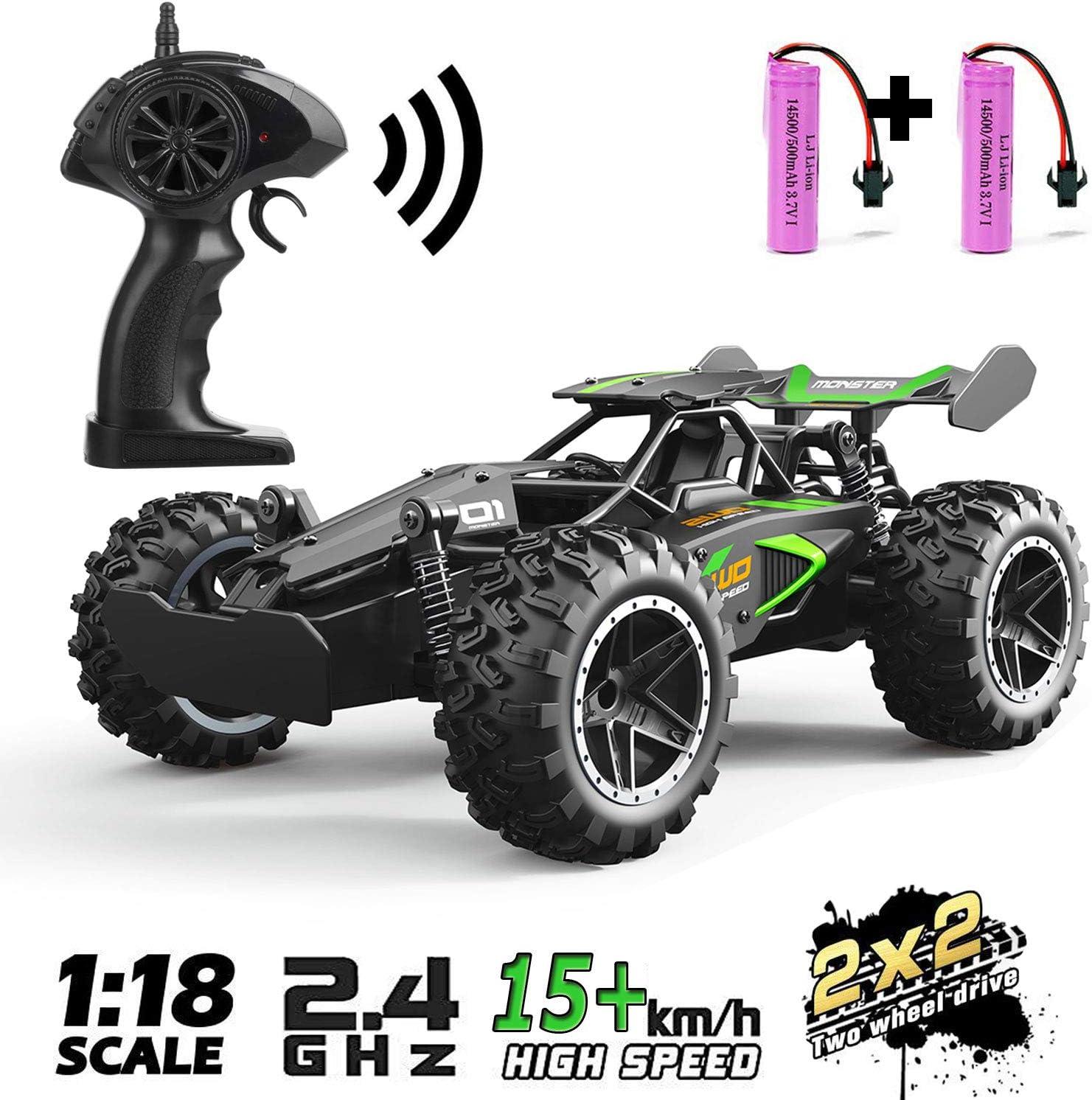 SZJJX RC 2.4Ghz Control Remoto Camión 20KM / H Alta Velocidad 2WD Off-Road RTR Electric Rock Climber Fast Race Buggy Hobby Car Toy para niños Regalo, 1: 18-Verde