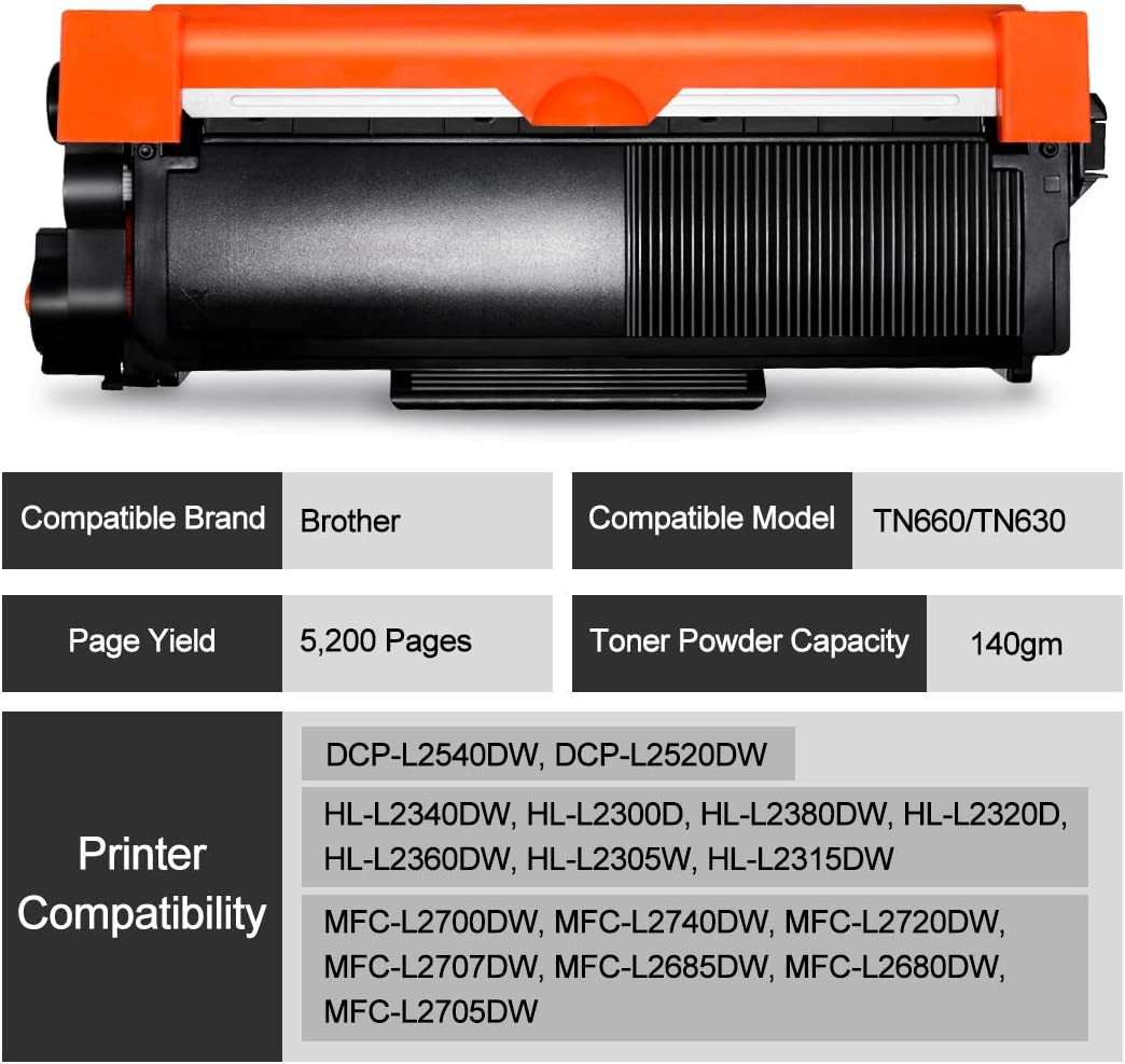 10pk High Yield TN660 Toner for Brother HL-L2300D DCP-L2540DW TN630 Compatible