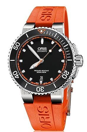 Orange Bracelet 42 Cadran Oris Automatique Mm Aquis Date Noir Homme 0wkPnO