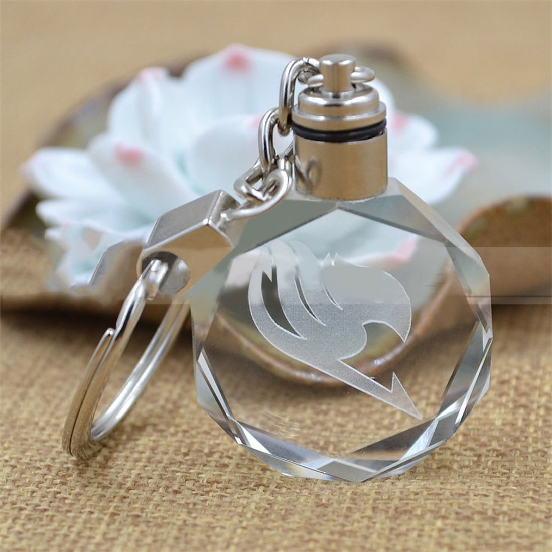 Women Fairy Tail Popular Anime Crystal LED Light Charm Key Chain Key Ring Cosplay Gifts for Friends Accessory Formulaone