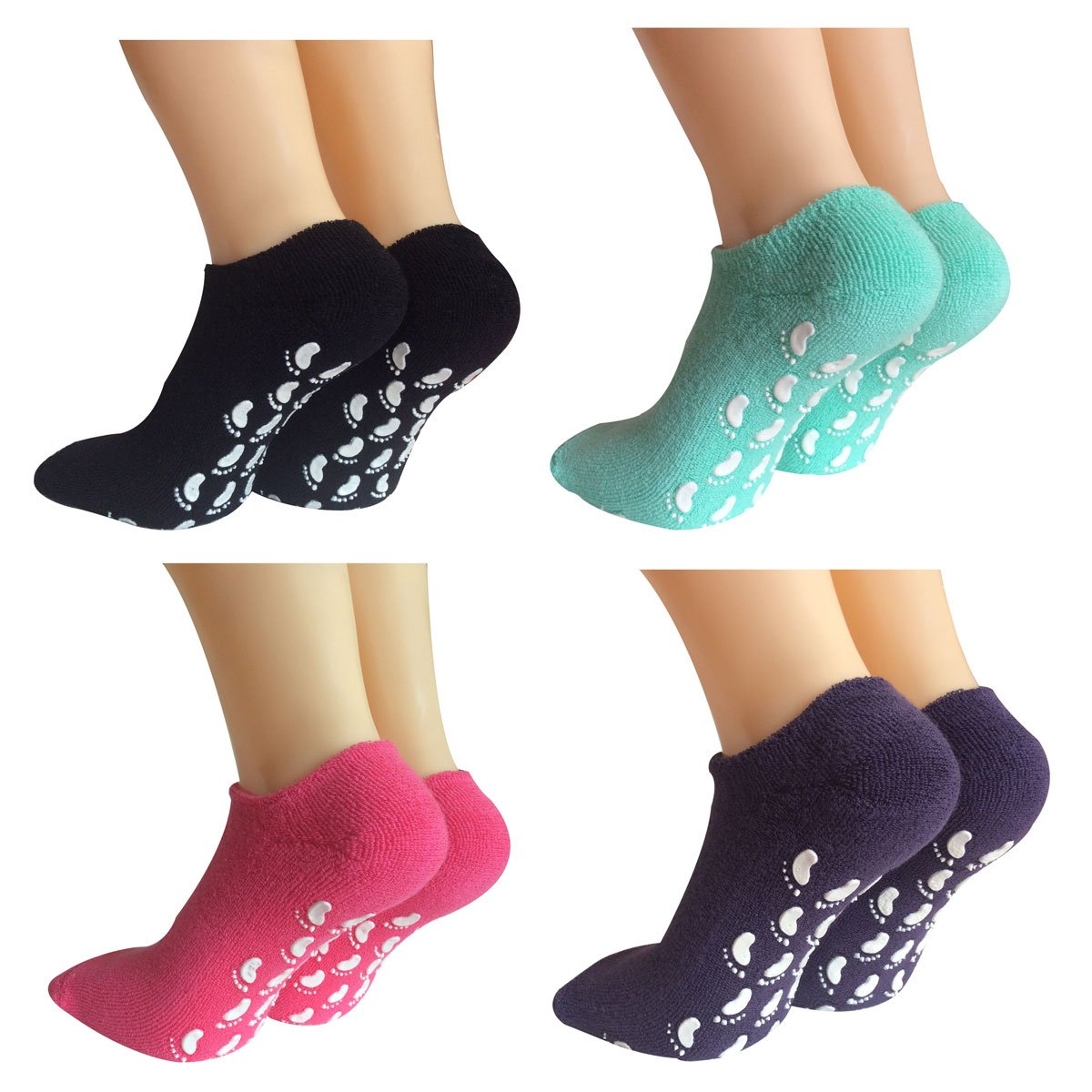 Lantee Non Slip Casual Floor Hospital Socks with Grips Cotton for Women Pack of 4