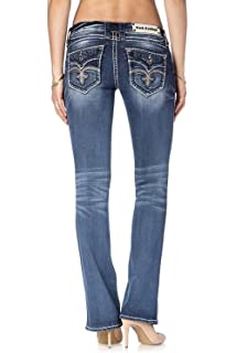 01cd5be9814cd8 Rock Revival Silana B201 Medium Dark Wash Boot Cut Fluer De Lis ...