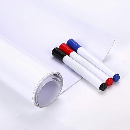 fancy-fix Pegatina Blanca Piazrra Blanca de Pared Adhesiva Lámina Vinilo Autoadhesivo Hogar Oficina Escola Aula Sala de reunión Material PVC Color ...