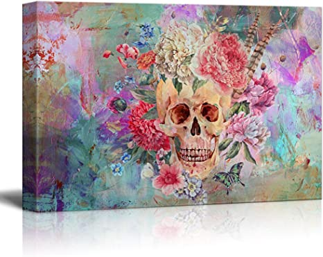 Amazon Com Wall26 Canvas Print Wall Art Skull And Flowers On Abstract Background Gallery Wrap Modern Home Art Ready To Hang 32x48 Inches Posters Prints
