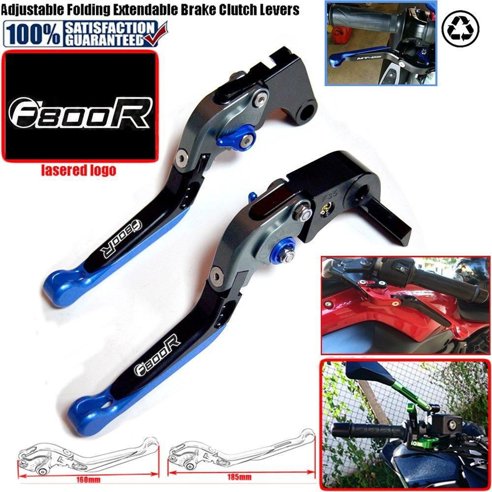 con logo per modelli: BMW F800R F 800R 2009-2017/2010/2011/2012/2013/2014/2015/2016 regolabile tramite CNC Leve per freno e frizione da motocicletta blu