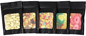 Mylar bags for food storage - Resealable Smell Proof Bags | black sample bags | small packaging bags | bolsa mylar | mylar bag with front window | 4x6 inches