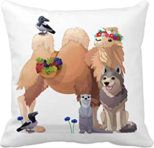 Awowee Throw Pillow Cover Animals Nursery Wall Cartoon Characters Fairy World Woodland Story 20x20 Inches Pillowcase Home Decorative Square Pillow Case Cushion Cover