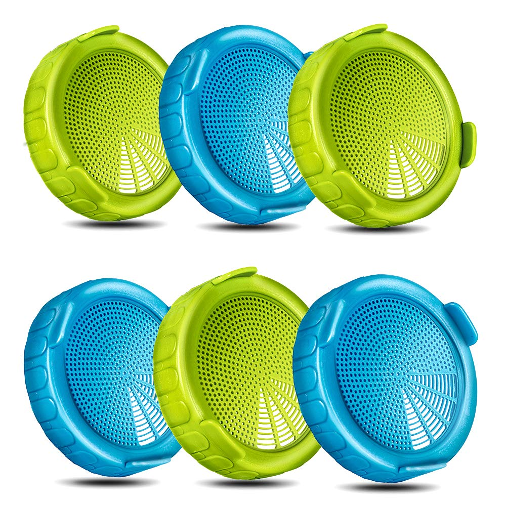 6 Pack Plastic Sprouting Lids for Wide Mouth Mason Jars, BPA Free Sprout Seeds Strainer Kit - Grow Broccoli, Alfalfa, Bean Sprouts etc - MasonChef by MasonChef