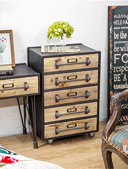 Amazon Com Wgx Industrial Rustic Wood And Metal 5 Drawer Side Table
