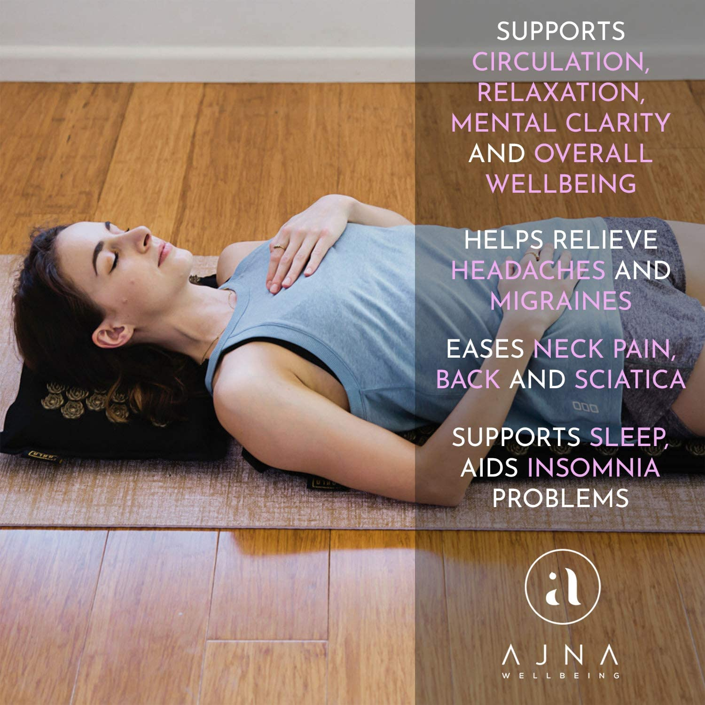 Acupressure Mat for Massage - Natural Cotton Acupuncture Mat & Bag (Midnight)