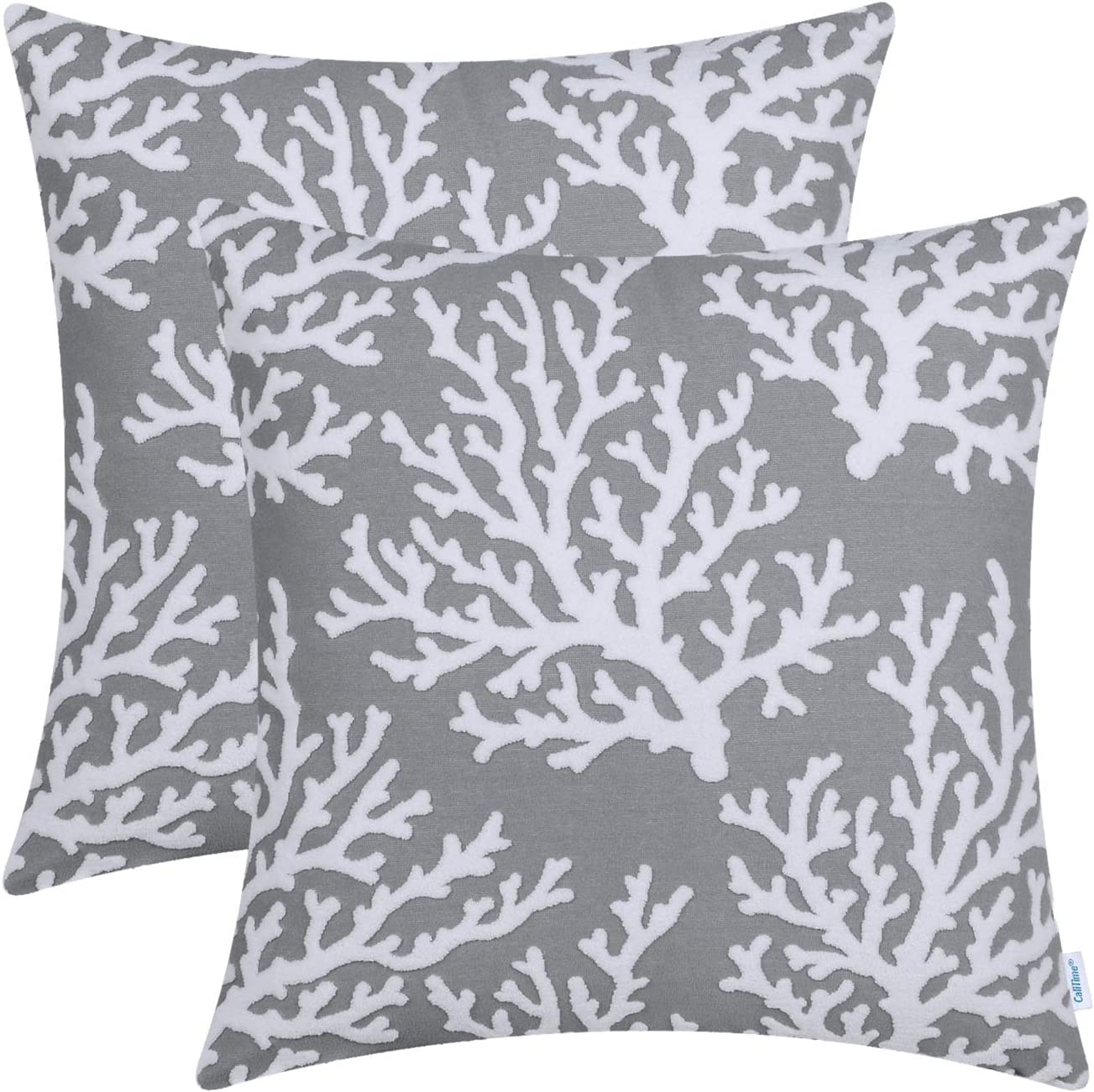 CaliTime Pack of 2 Supersoft Throw Pillow Covers Cases for Couch Sofa Bed Bedding Fluffy White Natural Coral Trees 18 X 18 Inches Medium Grey