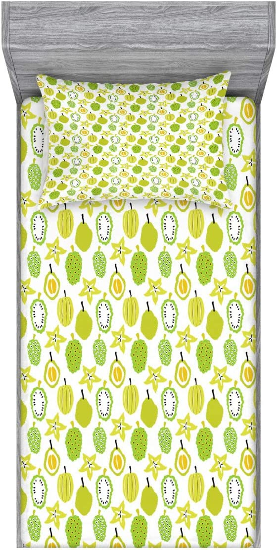 Lunarable Fruit Fitted Sheet & Pillow Sham Set, Hand-Drawn Exotic Food Durian Carambola and Noni, Decorative Printed 2 Piece Bedding Decor Set, Twin, Apple Green
