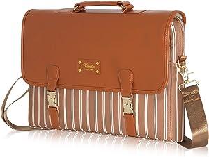 Kamlui Laptop Bag - for 15.6 inch Women PU Waterproof Computer Laptop Case Shoulder Messenger Macbook Pro Air (Brown)