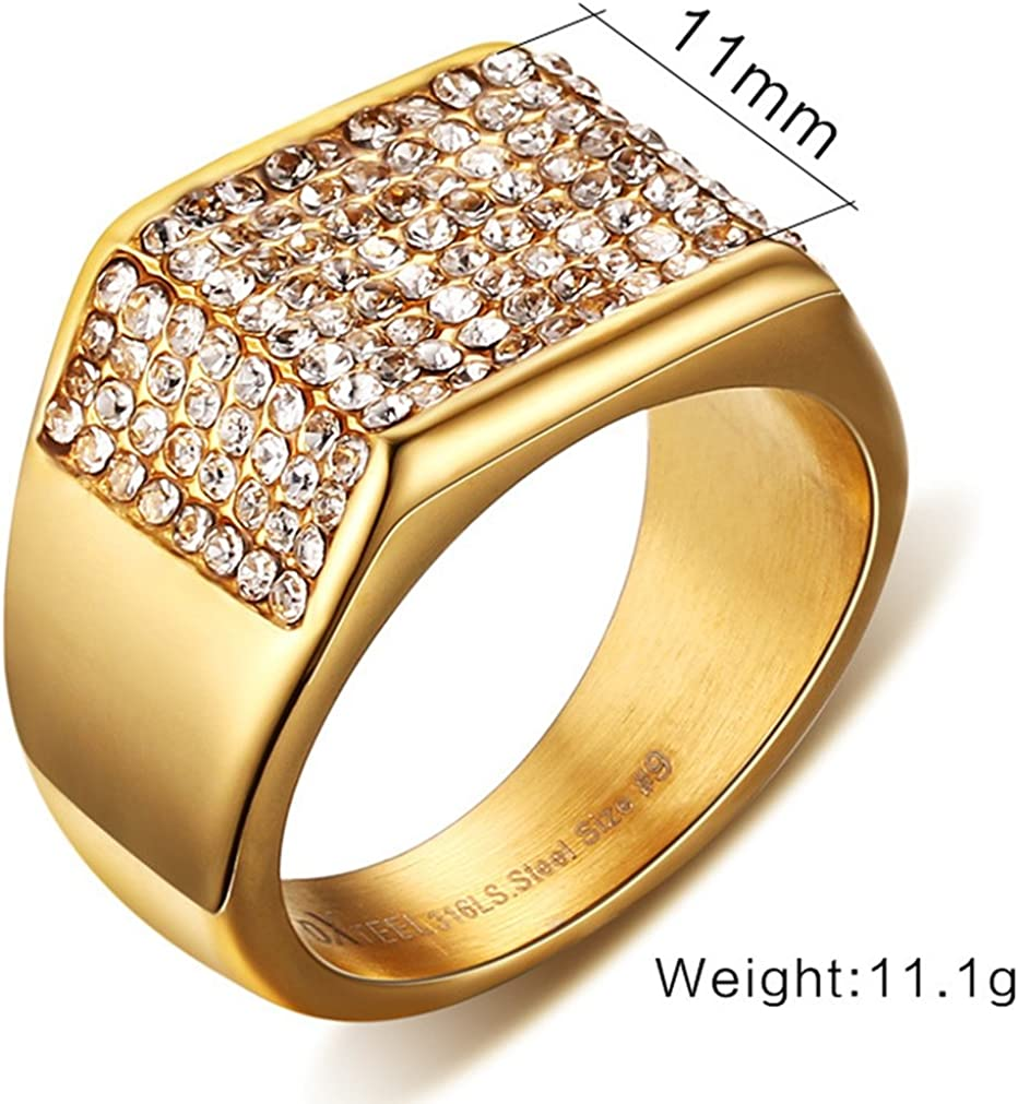 This is a photo of SAINTHERO Mens Wedding Bands Vintage 39L Stainless Steel Gold Engagement Rings High Polished Finish Comfort Fit Size 39-39