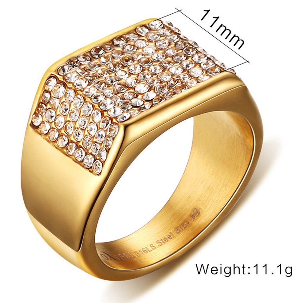22ca9bffa178b SAINTHERO Mens Wedding Bands Vintage 316L Stainless Steel Gold Engagement  Rings High Polished Finish Comfort Fit Size 7-12