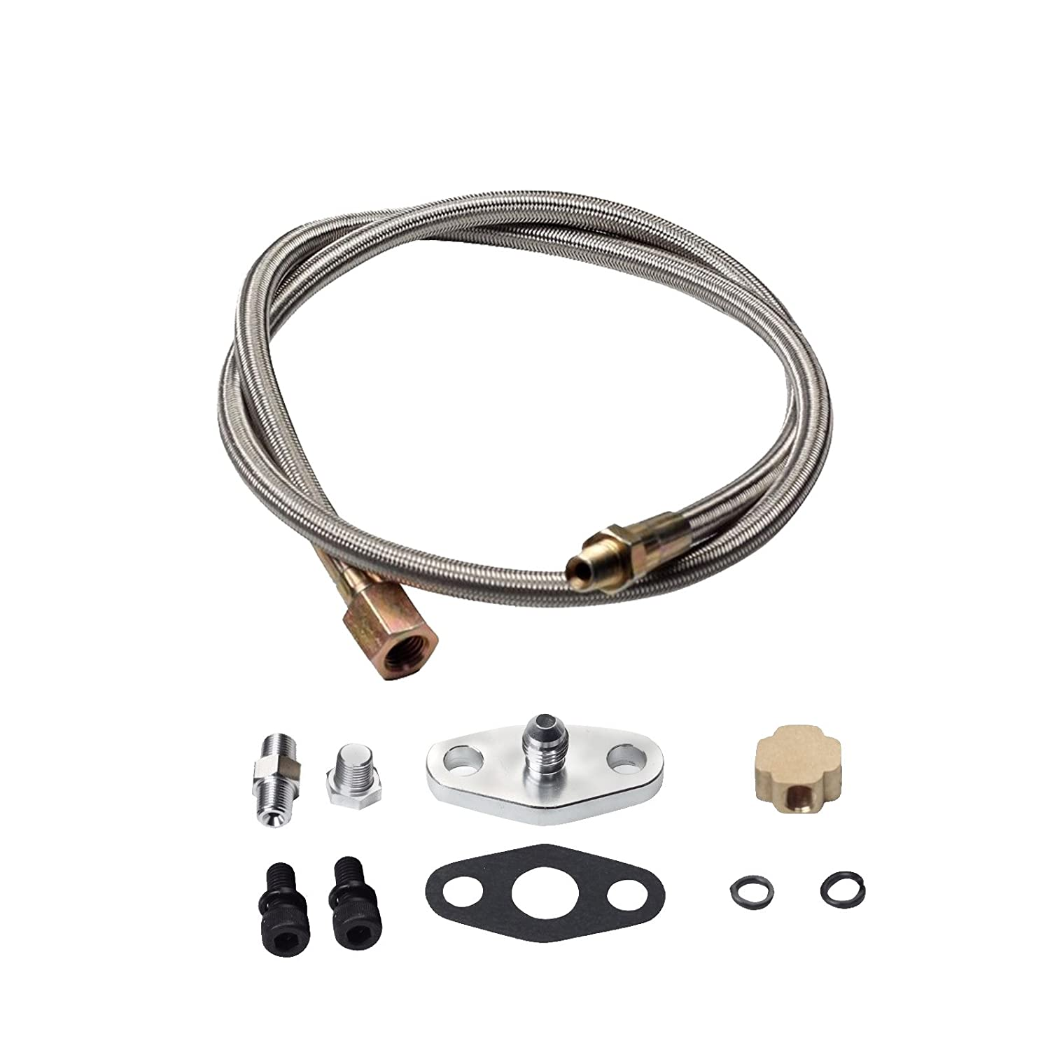 yjracing 36' Braided Turbo Oil Inlet Feed Line Fitting Kit Fit for T3 T4 T66 T70 Turbo Turbocharger