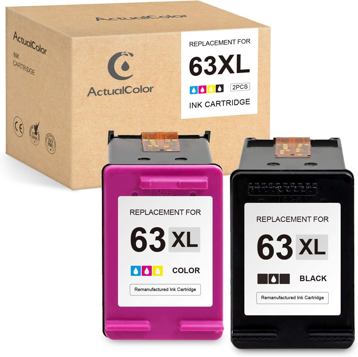 ActualColor C Remanufactured Ink Cartridge Replacement for HP 63 XL 63XL for Envy 4520 4512 OfficeJet 3830 5255 5258 4650 4652 4655 3833 DeskJet 1112 2130 2132 3630 3632 3634 (1 Black,1 Tri-Color)