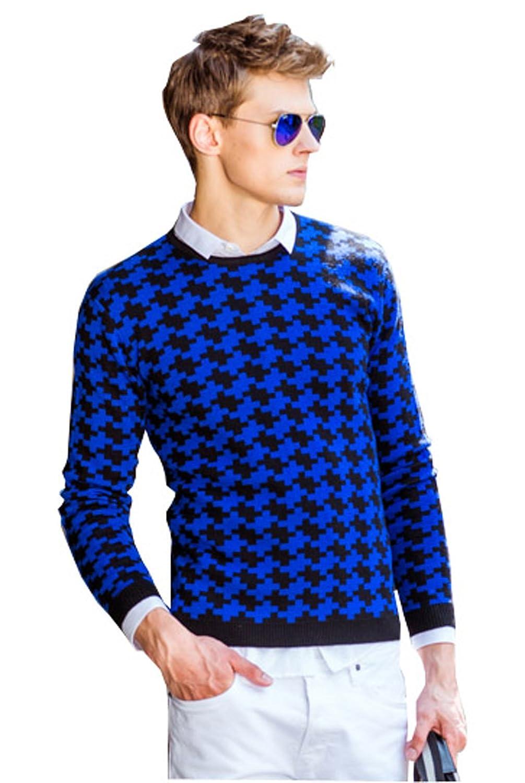 Dilize Men's Crew Check Print Fall Slim Knit Sweater Jumper in Cotton