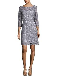 2de87c8ad6cb6 Kay Unger New York Women's Short Sleeve Metallic Floral Lace Dress ...