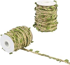 KATOOM 2 Roll Artificial Vine 65 Ft Leaves Ribbon Trim Fake Foliage Leaf Plant Garland Rustic Jute Twine Decorative Rattan for Christmas Wedding Party Home Decor DIY Craft