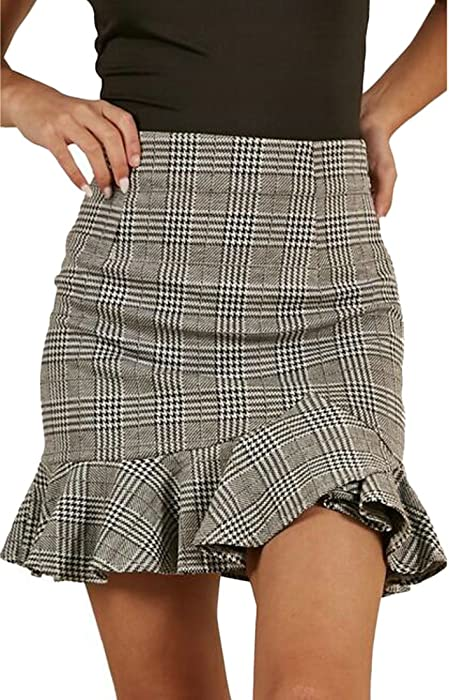 cc6fb8cea Fensajomon Women Plaid Checkered Irregular High Rise Ruffle Bodycon Pencil  Mini Skirt Grey XS at Amazon Women's Clothing store: