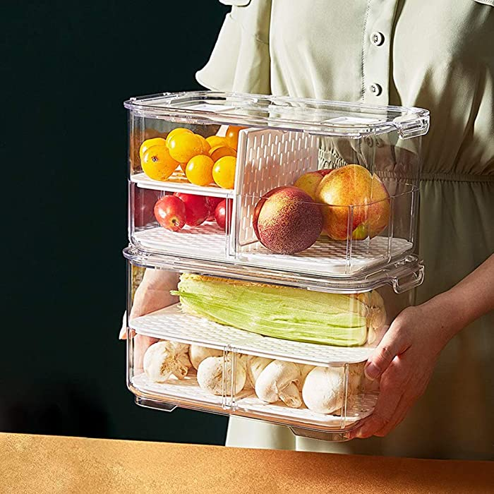 MineSign Refrigerator Organizer Keeper with Lids And Removable Drain Tray Food Storage Container Fridge Produce Saver Stackable Freezer Bins For Kitchen Produce Fruit Vegetable (Double Tier, Set of 2)