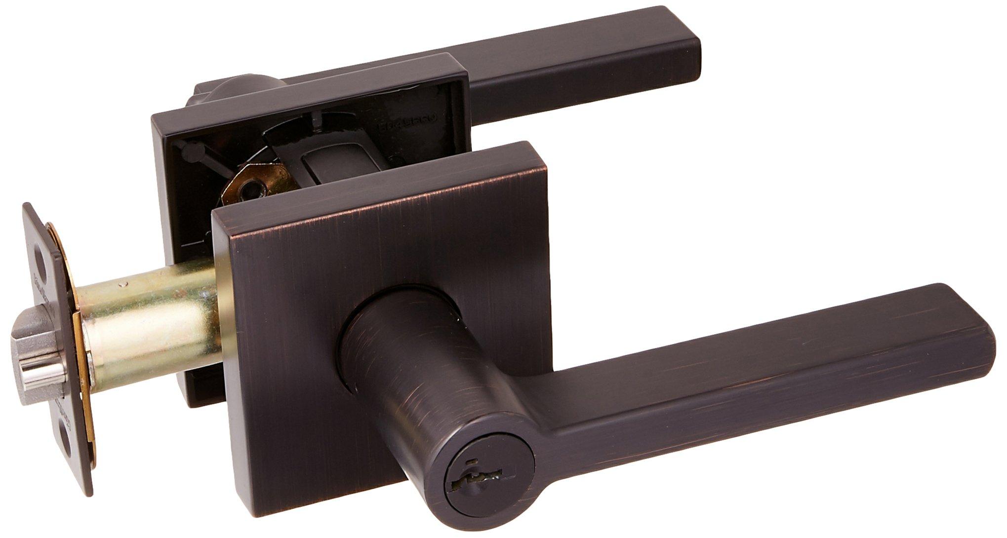 Kwikset 156HFLSQT-11PS Halifax Square Entry Door Lock Smart Key Venetian Bronze Finish