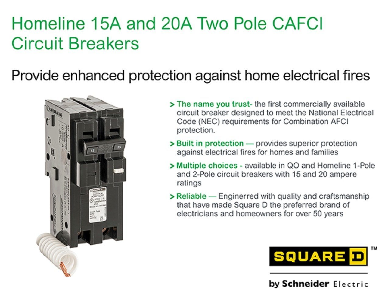 Square D By Schneider Electric Hom220cafic Homeline 20 Amp Two Pole Bined Arc Fault Circuit Interrupter And On Gfci Wiring With Cafci Breaker