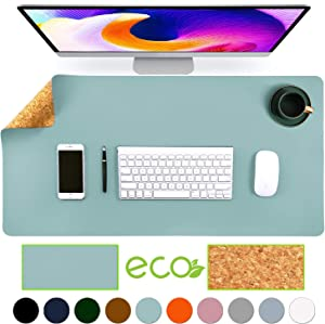 """Aothia Eco-Friendly Natural Cork & Leather Double-Sided Office Desk Mat Mouse Pad Smooth Surface Soft Easy Clean Waterproof PU Leather Desk Protector for Office/Home Gaming (Light Blue,31.5"""" x 15.7"""")"""