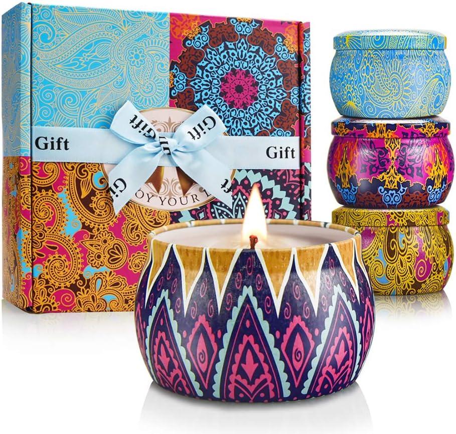mreechan Vela perfumada,perfumada,Vela perfumada Natural Wake Box 4 Set de Regalo Decorativo para Velas, Adecuado para Navidad, cumpleaños, San Valentín, etc. (Color clásico)