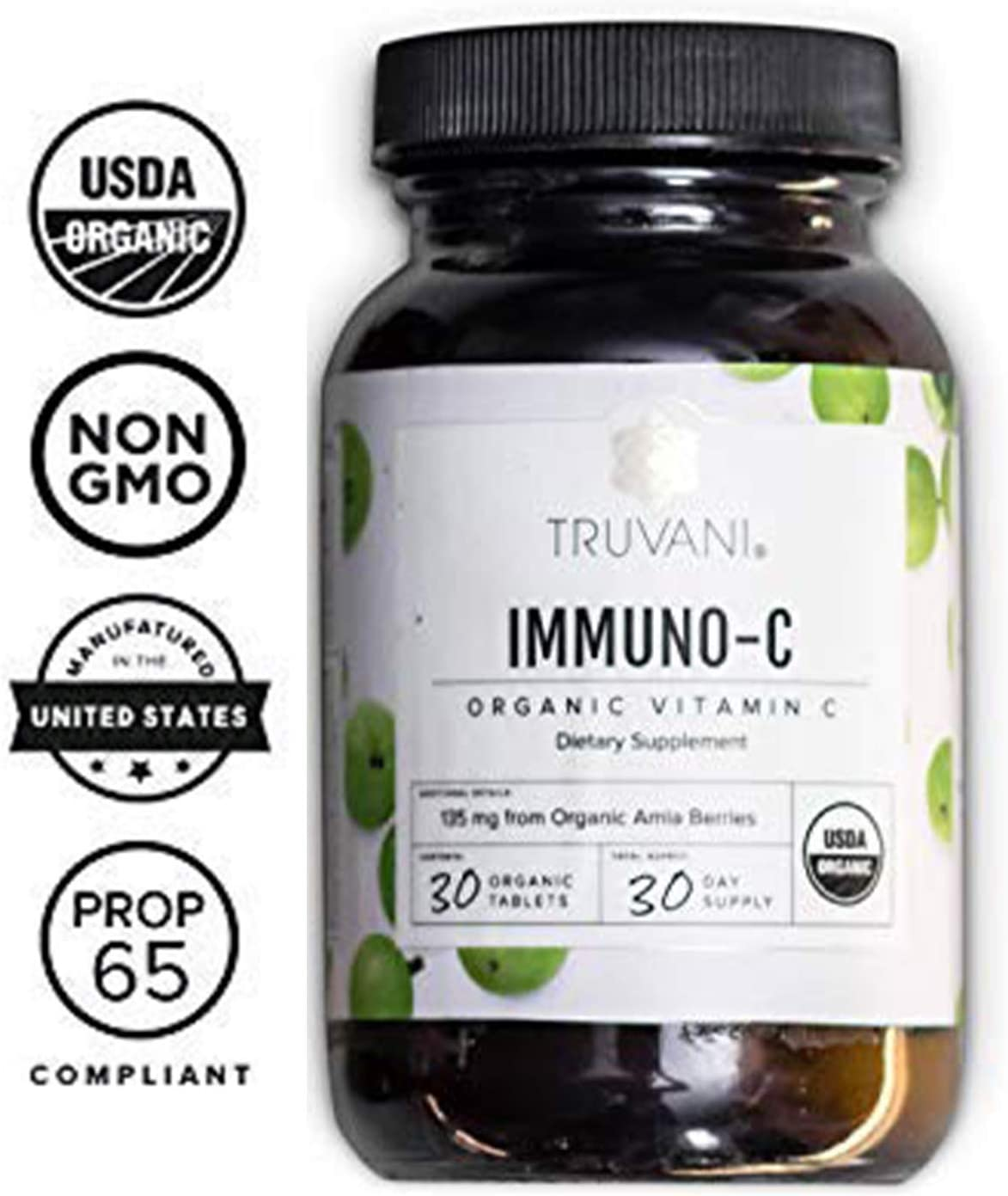 TRUVANI - Organic Vitamin C Tablets -Immune System Support and Antioxidant Supplement - Non GMO and Gluten Free - 30 Vegan Tablets