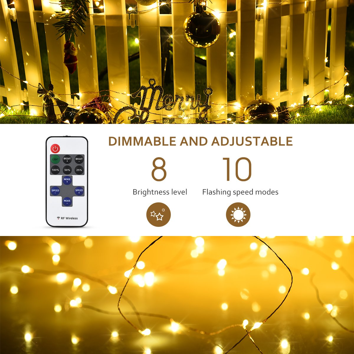 Amazon.com : Mpow LED String Lights with Remote Control, 66ft 200LED ...