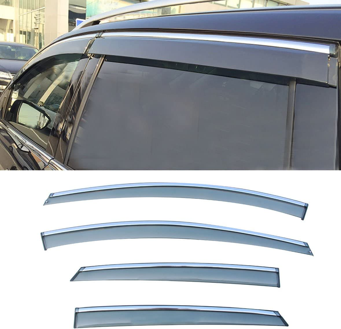 LQQDP 4pcs Smoke Tint With Chrome Trim Outside Mount Tape On//Clip On Style PVC Sun Rain Guard Vent Shade Window Visors Fit 12-18 Ford Focus