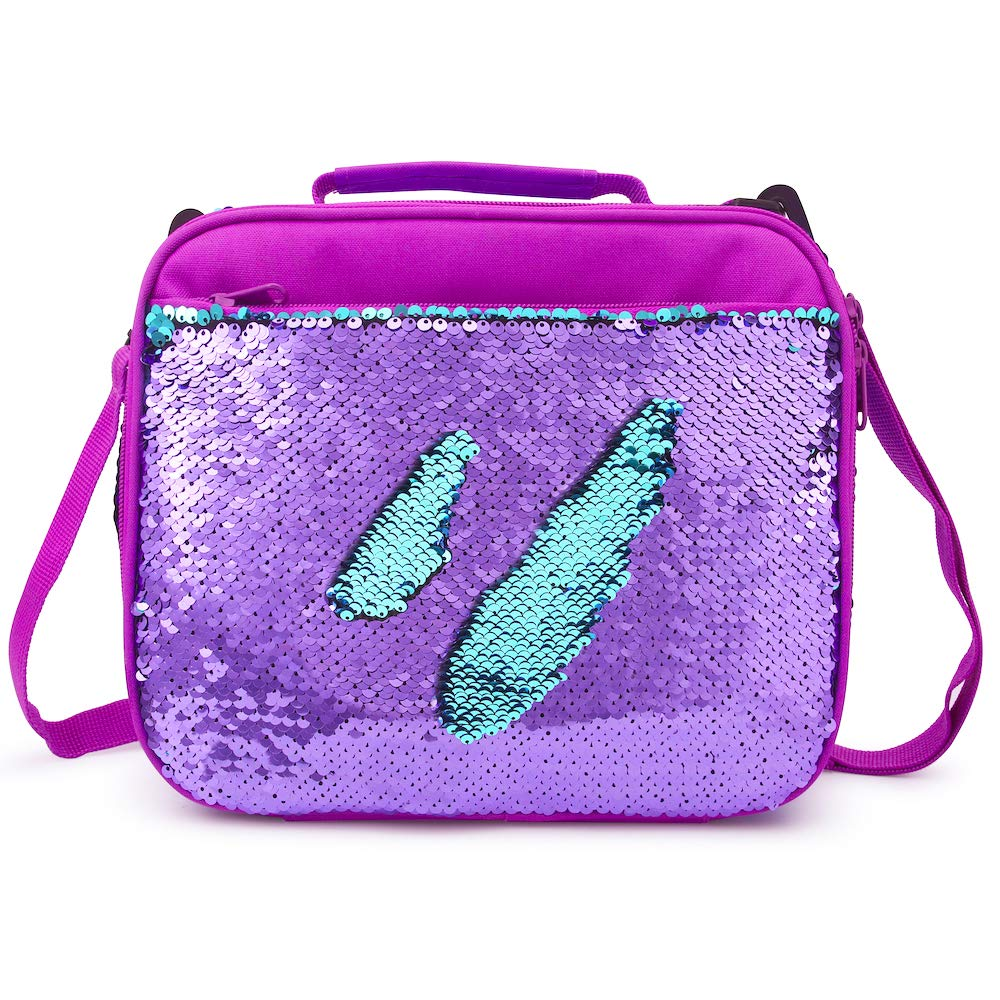 Sequin Lunch Box for Girls Flip Durable Thermal Reusable Lunch Tote Glitter Insulated School Lunch Bag (Purple)