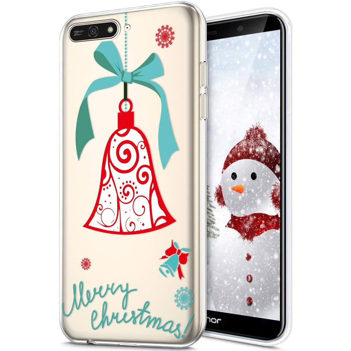 Rann.Bao Coque Huawei Y6 2018, Coque Silicone TPU Transparente Housse Crystal Souple Gel Motif Noë l Ultra-Mince de Protection Couverture Etui Coquille Etui pour Huawei Y6 2018, ChiotChiotChiot