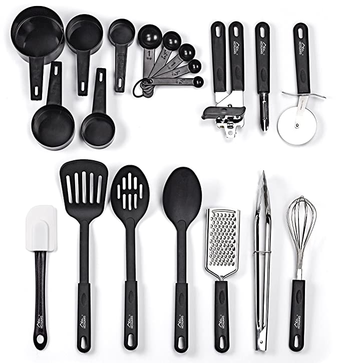 Kitchen Utensil Set - 20 Nylon and Stainless Steel Cooking Utensils - Nylon Utensils Spatula Set & Non-stick Heat Resistant Kitchen Cooking Utensils Cookware Set - Best Kitchen Tool Set by HCHUANG