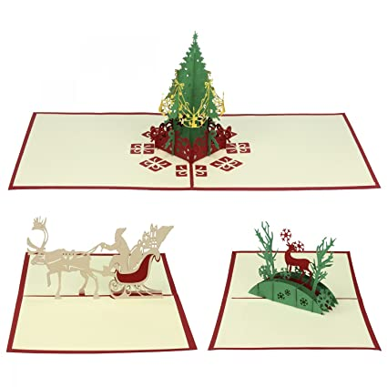 Tarjetas Navidad Set de 3, Urhome Tarjetas Navideñas Pop-Up ...