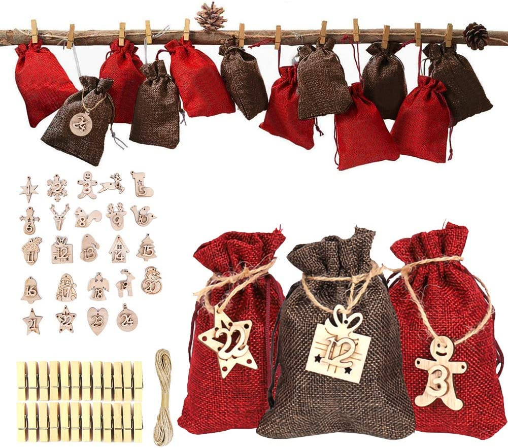 REMASIKO Christmas Countdown Calendar Bags - 24 Days Burlap Hanging Advent Calendars Garland Gift Bags Sacks with Wooden Numbers Label, Clips, Rope for Holiday Xmas Home Office Party Decorations