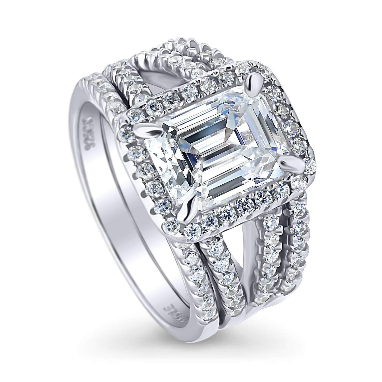 BERRICLE Rhodium Plated Sterling Silver Emerald Cut Cubic Zirconia CZ Halo Engagement Wedding Split Shank Ring Set 3.5 CTW Size 8 by BERRICLE