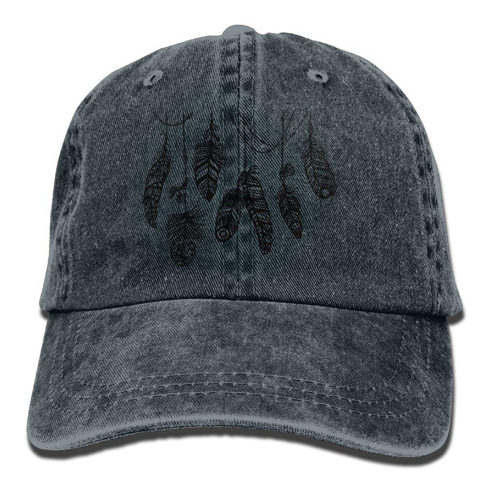 XZFQW Boho Feather Hand Drawn Vector Trend Printing Cowboy Hat Fashion Baseball Cap for Men and Women Black